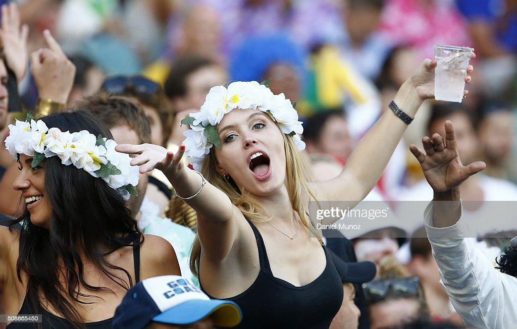 A rugby fan enjoys the 2016 Sydney Sevens at Allianz Stadium on February 7, 2016 in Sydney, Australia.