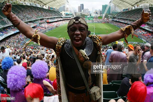 A rugby fan shouts during the Cathay Pacific/Credit Suisse Hong Kong Rugby Sevens 2007 event on March 31 2007 in Hong Kong China
