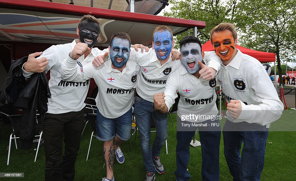 Rugby fans with painted faces during the Marriott London Sevens - Day One at Twickenham Stadium on May 10, 2014 in London, England.
