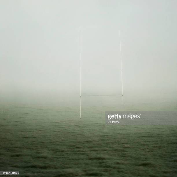 Rugby goalpost in fog