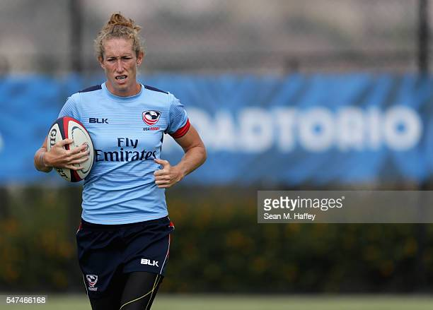 Rugby hopeful Carmen Farmer runs with the ball during a training session at the Olympic Training Center on July 14 2016 in Chula Vista California