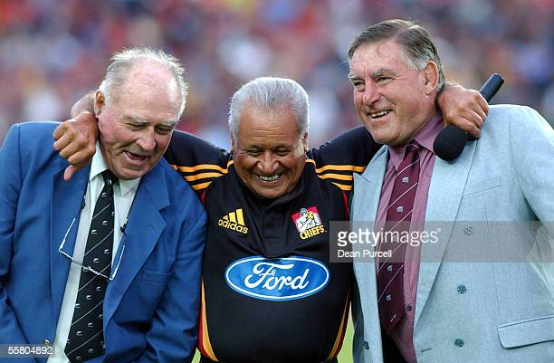 Rugby icons Don Clark and Colin Meads with Sir Howard Morrison joke around before the start of the Super 12 Rugby game Chiefs vs Crusaders played at...