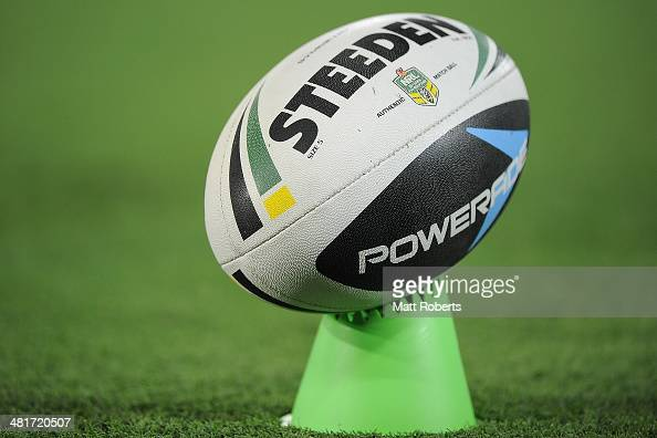 Rugby League ball is seen on a kicking tee before the round four NRL match between the Gold Coast Titans and North Queensland Cowboys at Cbus Super...