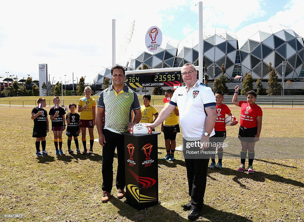Rugby League legends Steve Renouf of Australia and Garry Schofield of Great Britain start the countdown clock during a media opportunity marking one year to go until the 2017 Rugby Leaguer World Cup next to AAMI park on October 27, 2016 in Melbourne, Australia.