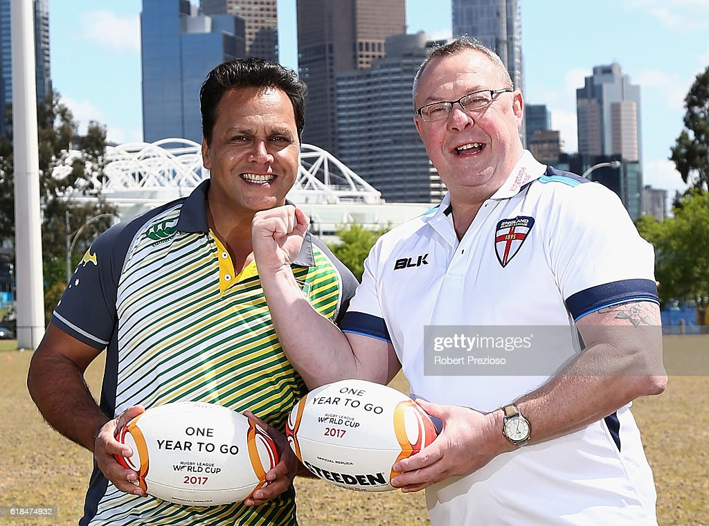 Rugby League legends Steve Renouf of Australia and Garry Schofield of Great Britain pose for a photo during a media opportunity marking one year to go until the 2017 Rugby League World Cup next to AAMI park on October 27, 2016 in Melbourne, Australia.