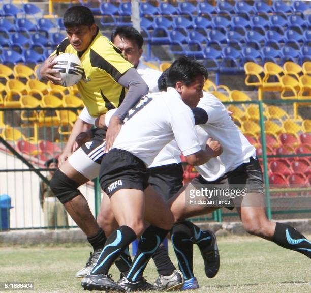 Rugby match in progress between the teams of Manipur and Maharshtra in which Maharshtra won by 430 during the 34th National Games at Birsa Munda...