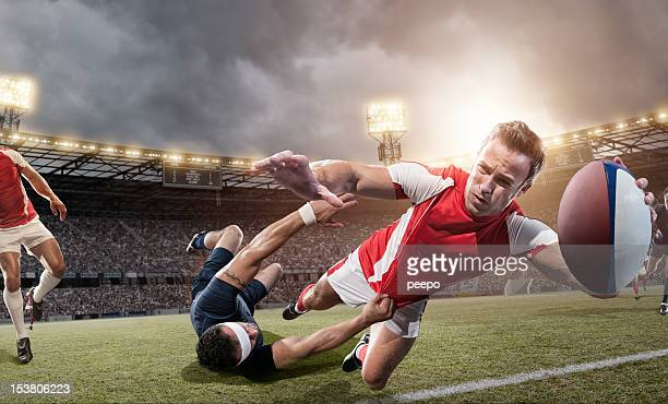 Rugby Player About To Score