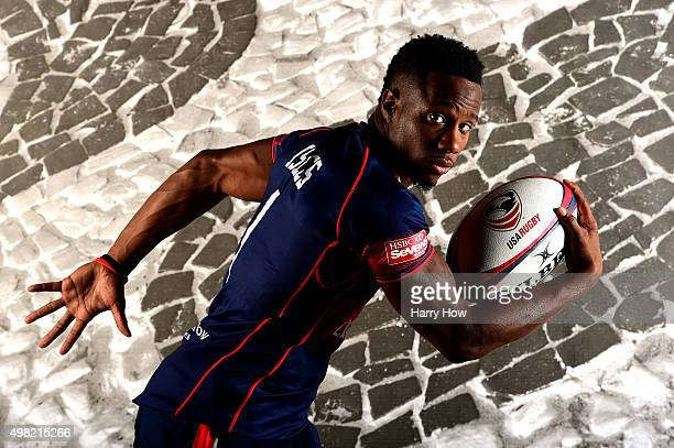 Rugby player Carlin Isles poses for a portrait at the USOC Rio Olympics Shoot at Quixote Studios on November 21 2015 in Los Angeles California