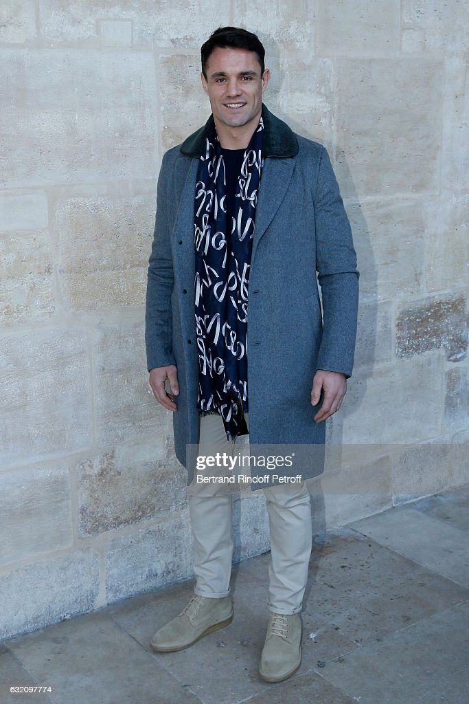 Rugby player Dan Carter attends the Louis Vuitton Menswear Fall/Winter 2017-2018 show as part of Paris Fashion Week. Held at Palais Royal on January 19, 2017 in Paris, France.
