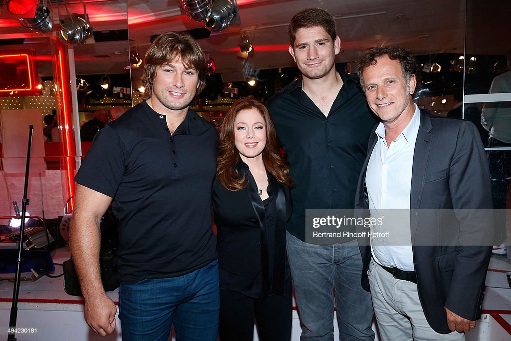 Rugby player Dimitri Szarzewski, singer Isabelle Boulay, rugby player Pascal Pape and actor Charles Berling attend the 'Vivement Dimanche' French TV Show at Pavillon Gabriel on May 28, 2014 in Paris, France.