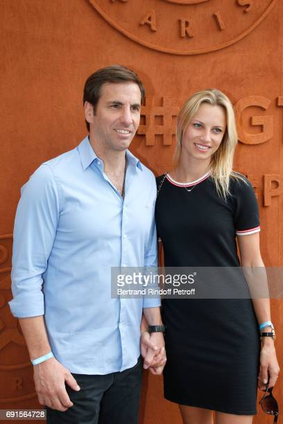 Rugby player Gonzalo Quesada and Liga Melne attend the 2017 French Tennis Open Day Six at Roland Garros at Roland Garros on June 2 2017 in Paris...