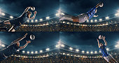 Professional rugby player jumps with a ball on a professional sports arena with bleaches full of people. Arena and people on it are made in 3D and animated.