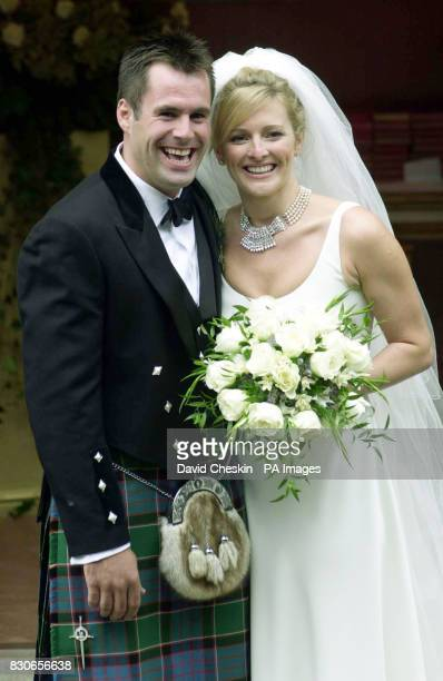 Rugby player Kenny Logan and Sports television presenter Gabby Yorath at Logie Kirk in Blairlogie near Stirling