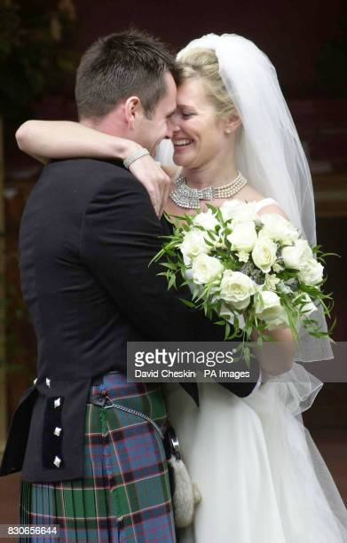 Rugby player Kenny Logan and Sports television presenter Gabby Yorath after their wedding at Logie Kirk in Blairlogie near Stirling