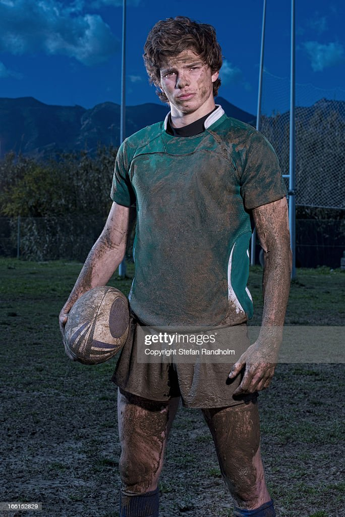 Rugby player looking into camera
