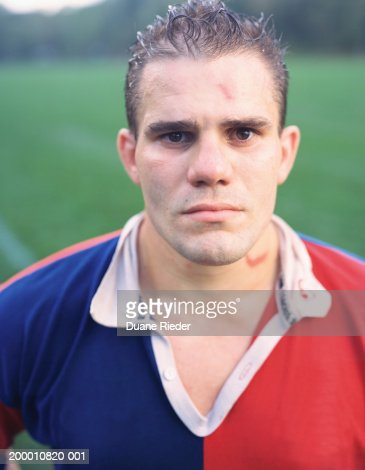 Rugby player, portrait, close-up