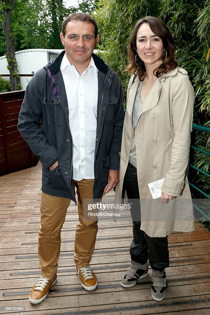 Rugby Player Raphael Ibanez and wife Sandra attend Roland Garros Tennis French Open 2013 - Day 6 on May 31, 2013 in Paris, France.