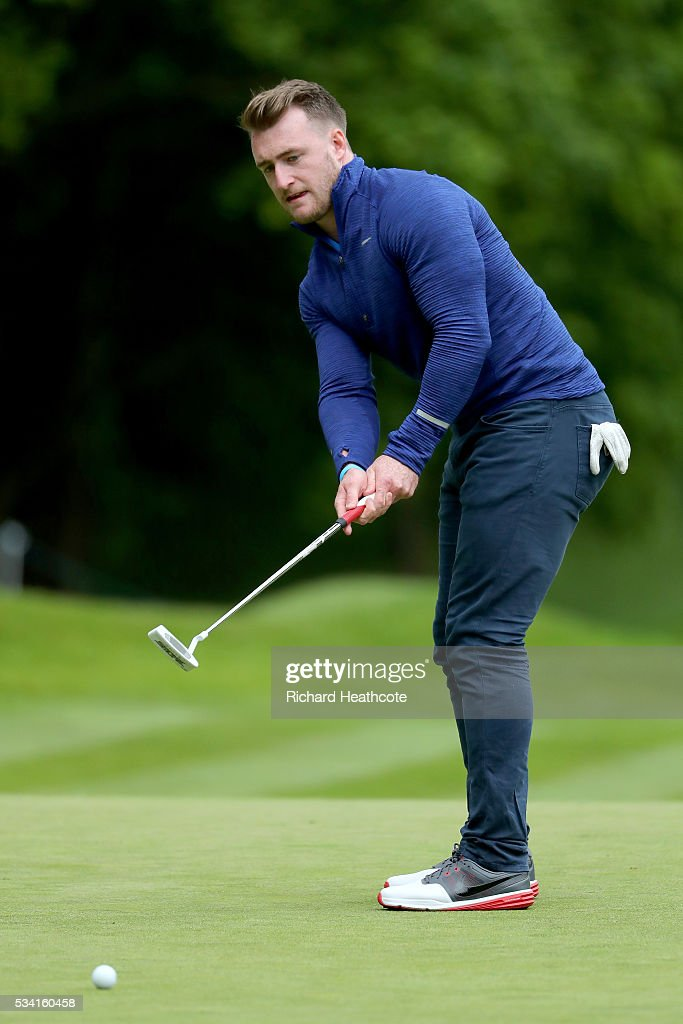 Rugby player Stuart Hogg in action during the Pro-Am prior to the BMW PGA Championship at Wentworth on May 25, 2016 in Virginia Water, England.
