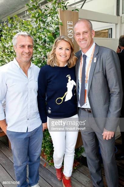 Rugby player Yann Delaigue journalist Astrid Bard and Director of Roland Garros tournament Guy Forget attend the 2017 French Tennis Open Day Height...