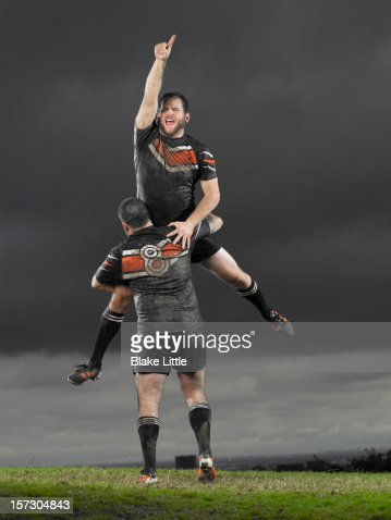 Rugby players celebrating. : Stockfoto