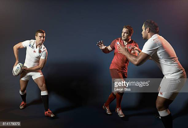 Rugby players George Ford Brad Barritt and Billy Vunipola are photographed for ES magazine on July 6 2015 in London England