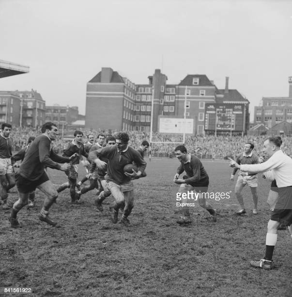 Rugby players in action during the 1964 Five Nations match Wales vs France Cardiff 21st March 1964