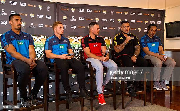 Rugby Players Jerome Kaino Ihaia West Israel Dagg Hika Elliot and Blues coach Tana Umaga speak to the media during the Rugby 10's Launch at Spencer...