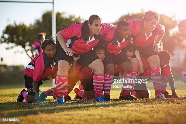 Rugby players lined up at practice