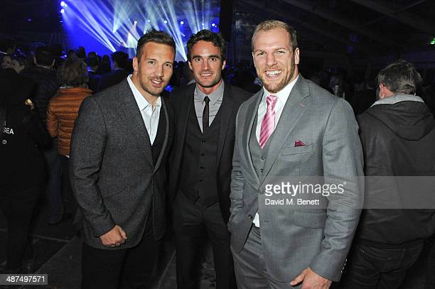 Rugby players Paul DoranJones Thom Evans and James Haskell attend the Battersea Power Station Annual Party on April 30 2014 in London England