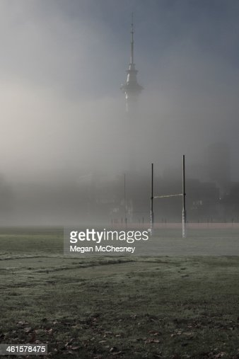 Rugby posts in the mist, Auckland