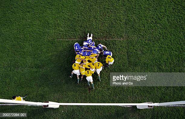 Rugby scrum near posts, elevated view