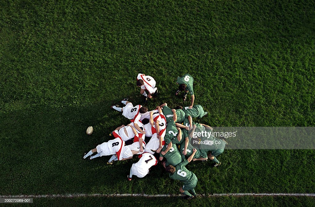 Rugby scrummage, overhead view