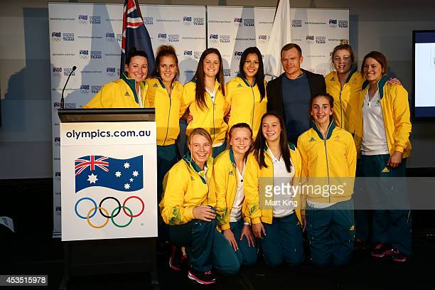 Rugby Sevens athletes pose during the Australian Olympic Committee team farewell and flagbearer announcement ahead of the 2014 Youth Olympic Games at...