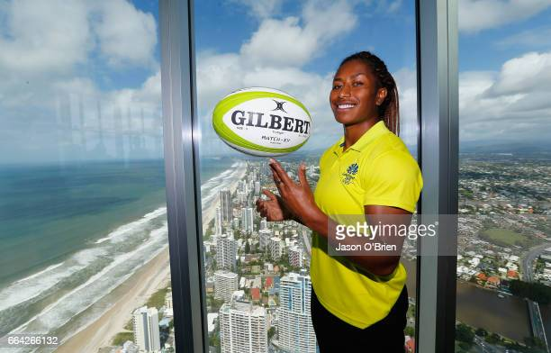 Rugby sevens player Ellia Green during the 2018 Commonwealth Games One Year To Go ceremony at Q1 Gold Coast on April 4 2017 in Gold Coast Australia...
