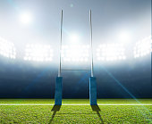 A rugby stadium with rugby posts on a marked green grass pitch at night under illuminated floodlights