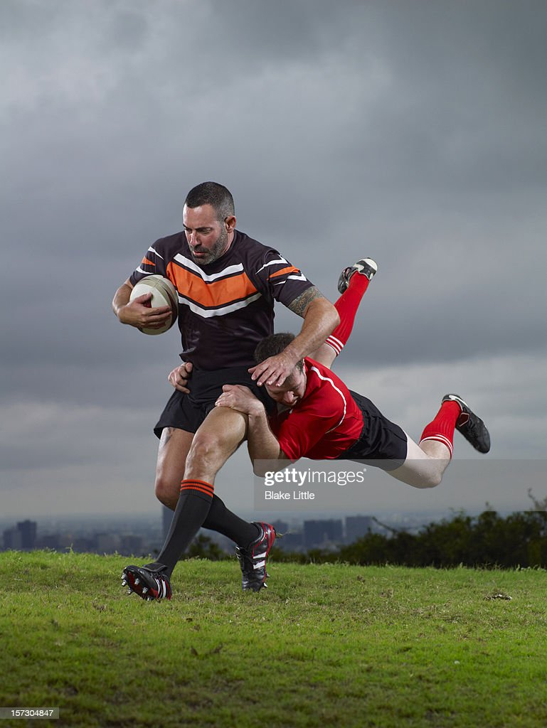 Rugby Tackle. : Stock Photo
