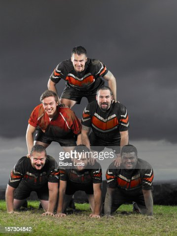 Rugby Team Pyramid Portrait. : Stock Photo