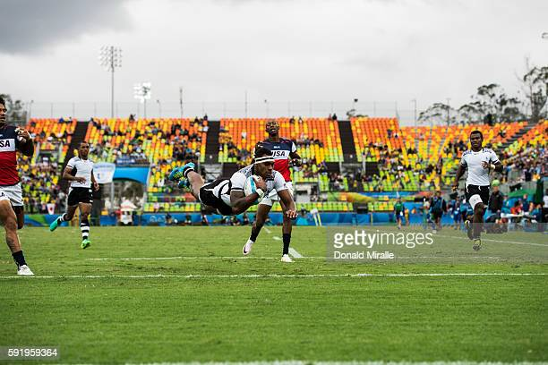 2016 Summer Olympics Fiji Semi Kunatani in action diving to score vs USA during Men's Sevens Preliminary Round Group A game at Deodoro Stadium Fiji...