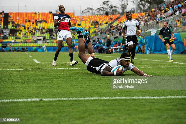 2016 Summer Olympics Fiji Semi Kunatani in action scoring vs USA during Men's Sevens Preliminary Round Group A game at Deodoro Stadium Fiji wins 24...
