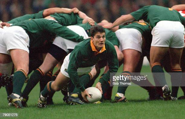 Rugby Union 26th JUNE 1994 Cardiff Arms Park Wales Wales 12 v South Africa 20 South Africa's scrum half Joost Van Der Westhuizen prepares to pass...