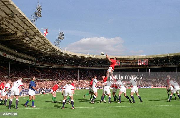 Rugby Union International Wembley 11th April Wales 32 v England 31 Wales lock Chris Wyatt jumps high to win the line out ball in the sunshine at...