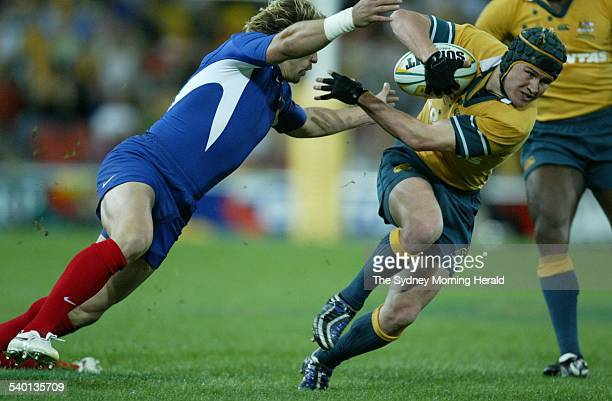 Rugby Union Test at Suncorp Stadium Brisbane Australia versus France Matt Giteau 2 July 2005 SMH Picture by SIMON ALEKNA