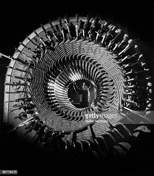Rugby Works 1962 A stator part of a turbine is a cylinder of intricate copper windings through which the rotor or large electro magnet rotates at...