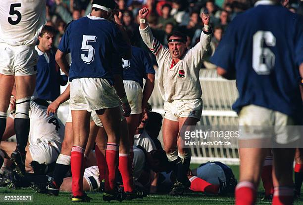 Rugby World Cup 1/4 final France v England Brian Moore celebrates a try for England
