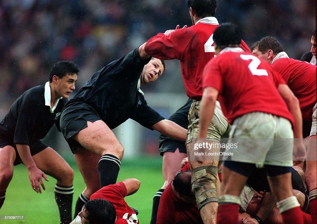 Rugby World Cup 1991 Canada v New Zealand Sean Fitzpatrick of NZ protects his scrum half at a ruck