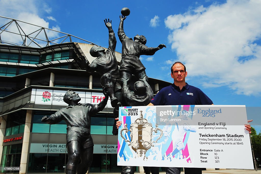Rugby World Cup 2003 winning captain, Martin Johnson, shows off the ticket design for the Rugby World Cup 2015 at Twickenham Stadium on June 26, 2015 in London, United Kingdom.
