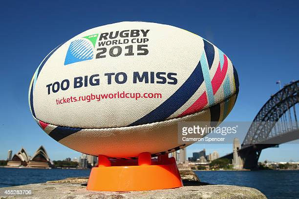 Rugby World Cup 2015 rugby ball is seen in Sydney on September 11 2014 in Sydney Australia Tickets for matches to the Rugby World Cup 2015 tournament...