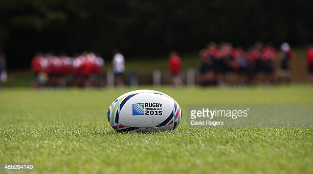 Rugby World cup ball lies on the pitch as England train during the England training session held at Pennyhill Park on August 26 2015 in Bagshot...