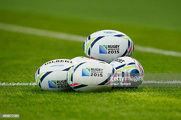 Rugby World Cup balls are pictured prior to the 2015 Rugby World Cup Pool C match between New Zealand and Namibia at the Olympic Stadium on September...