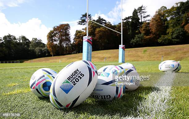 Rugby World Cup balls during the England training session at Pennyhill Park on September 14 2015 in Bagshot England